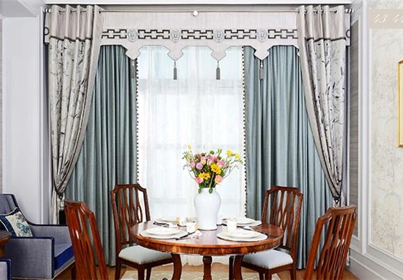 空谷幽兰新中式窗帘布艺图片